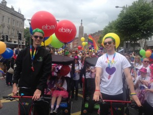rickshaws pedicabs in LGBT pride parade